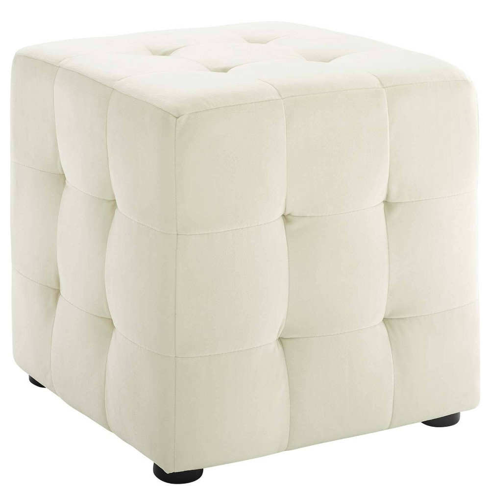 Image of Contour Cube Velvet Ottoman Ivory - Modway