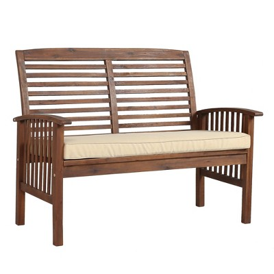Acacia Wood Patio Loveseat Bench - Dark Brown - Saracina Home