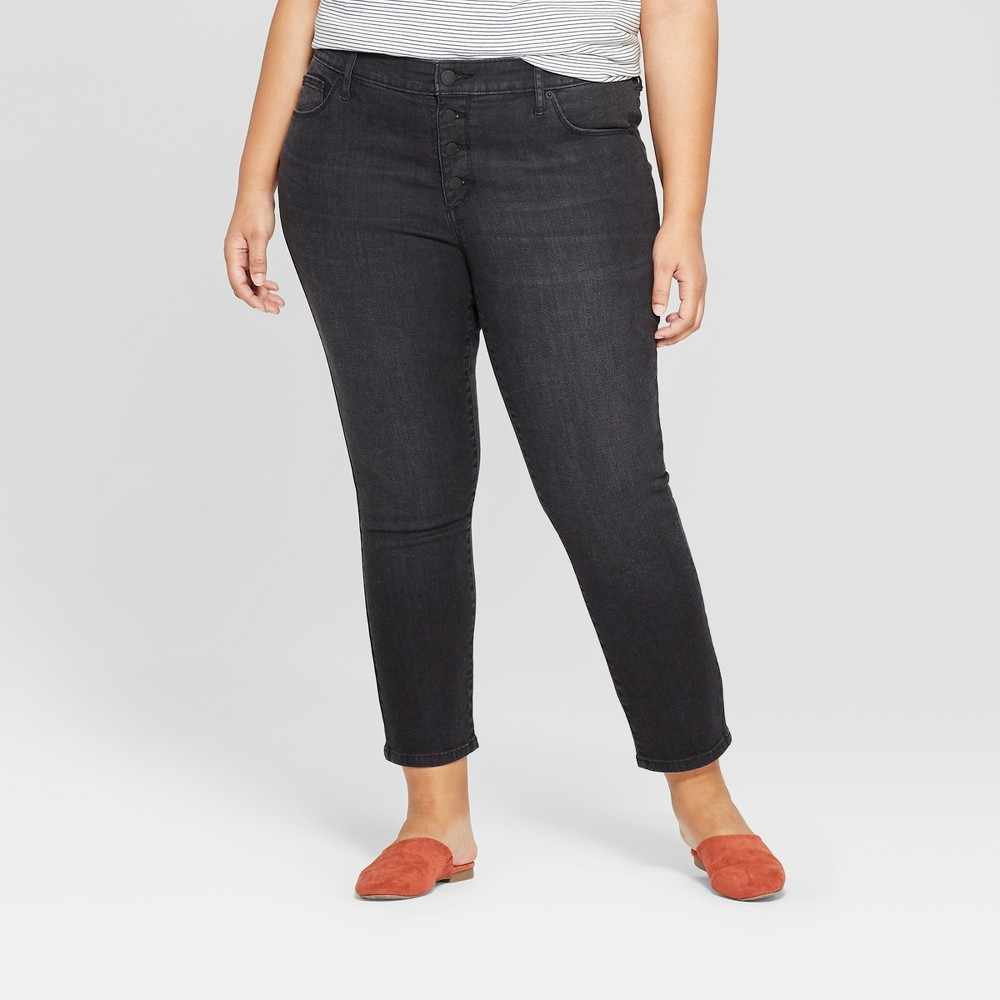 Women's Plus Size Button Fly Skinny Cropped Jeans - Universal Thread Black Wash 18W