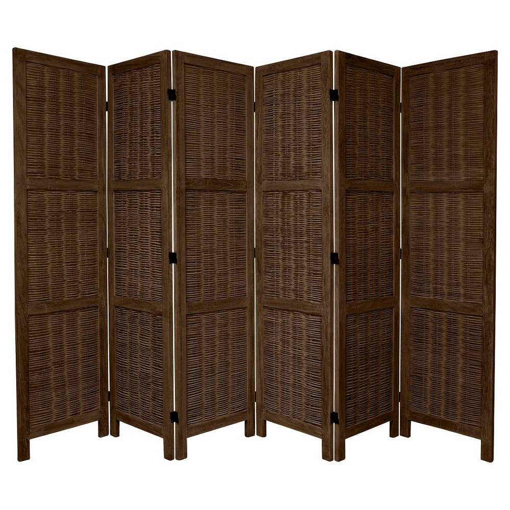 5 1/2 ft. Tall Bamboo Matchstick Woven Room Divider - Burnt Brown (6 Panel)