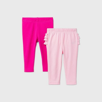 Baby Girls' 2pk Leggings - Cat & Jack™ Pink/Magenta Pink 24M