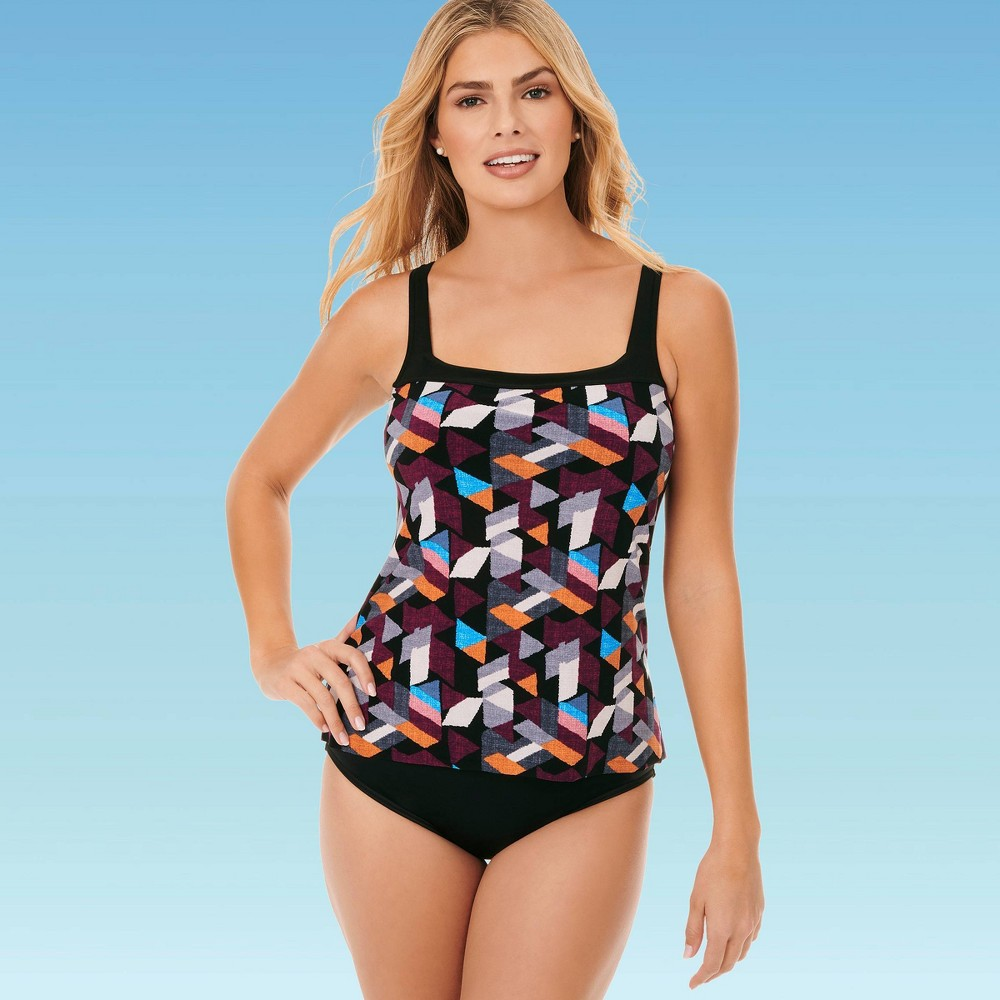 Image of Women's Contrast Trim Over The Shoulder One piece Swimsuit - Dreamsuit by Miracle Brands Black 10, Women's, MultiColored