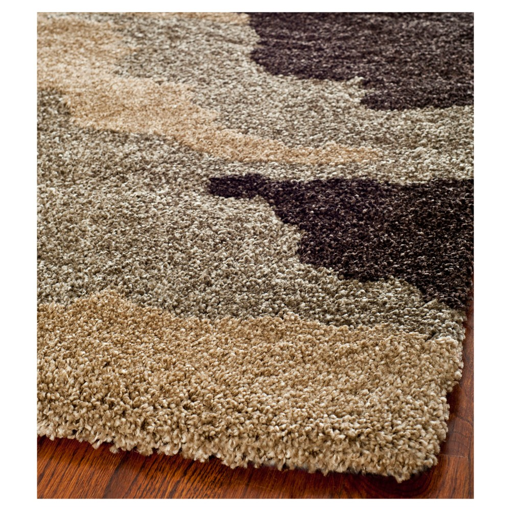 Beige Abstract Loomed Area Rug - (5'3