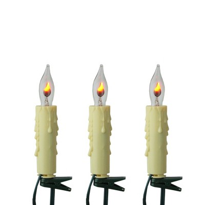 Kurt S. Adler 7ct Clip-On Flicker Flame Candle C7 Christmas Lights Clear - 10' Green Wire