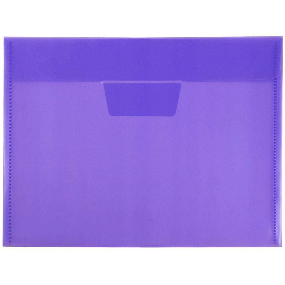 Jam Paper 8 7/8'' x 12'' 12pk Plastic Envelopes with Tuck Flap Closure, Letter Booklet - Lilac Purple
