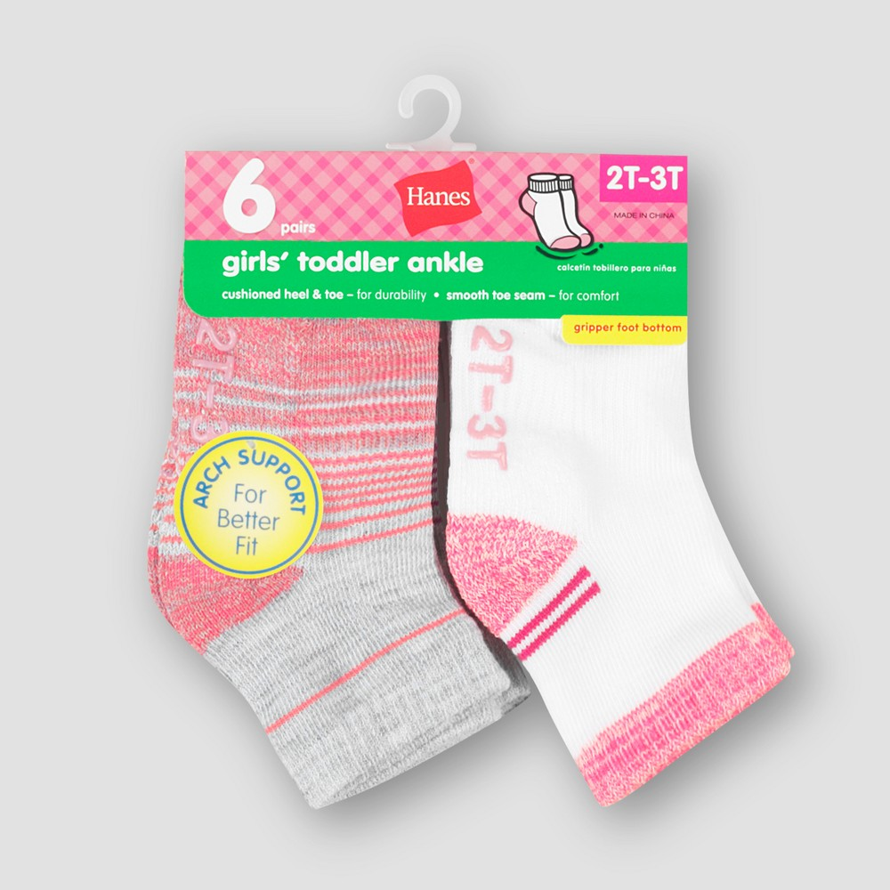 Image of Baby Girls' Hanes 6pk Ankle Socks - Colors May Vary 12-24M, Girl's, MultiColored