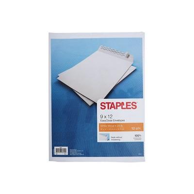 """Staples EasyClose Catalog Envelopes 9""""L x 12""""H White 12/Pack (50311)"""