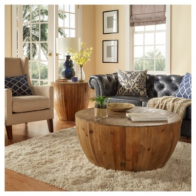 Rochelle Reclaimed Wood Drum Accent Table   Natural   Inspire Q