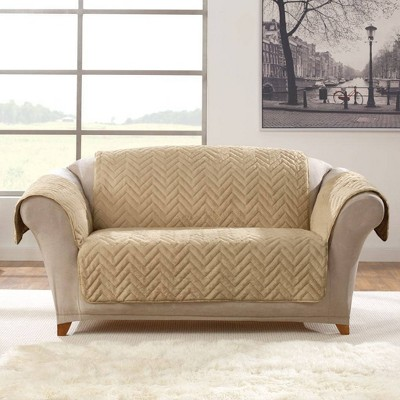 Faux Fur Loveseat Furniture Protector Blonde - Sure Fit