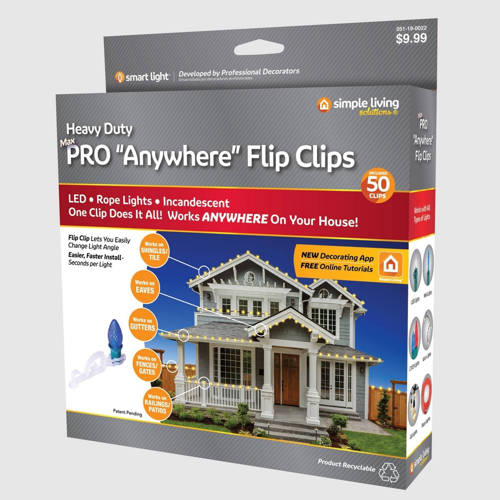 Image of 50ct String Light Pro Anywhere Flip Clips Clear - Simple Living