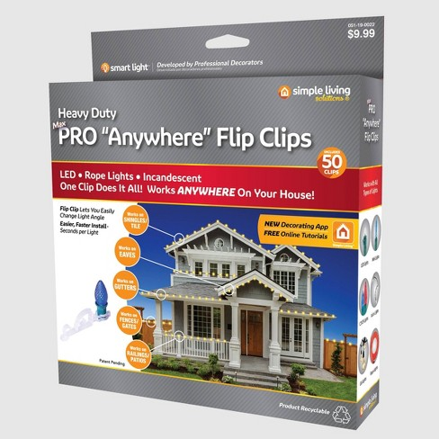 50ct String Light Pro Anywhere Flip Clips Clear - Simple Living - image 1 of 4