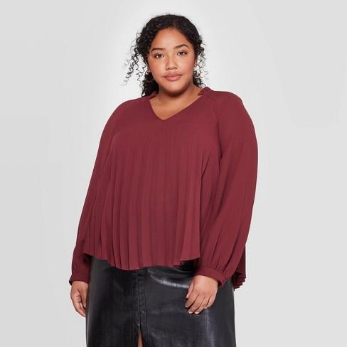 Women's Plus Size Long Sleeve V-Neck Pleated Raglan Top - Ava & Viv™ - image 1 of 2