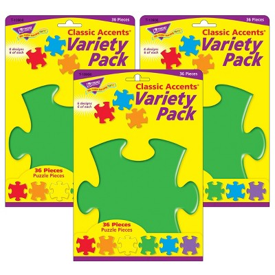 3pk Classic Accents Variety Pack Puzzle Shapes - TREND