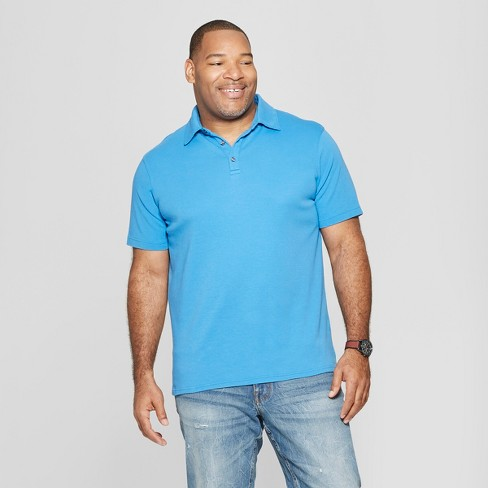 Men's Big & Tall Standard Fit Short Sleeve Elevated Ultra-Soft Polo Shirt - Goodfellow & Co™ Blue Raindrop 5XBT - image 1 of 3