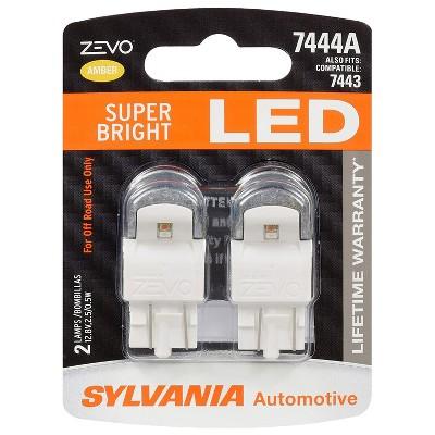 Sylvania Zevo 7444 Amber LED Super Bright Interior and Exterior Turn and Park Light Mini Light Bulb Set, 2 Pack