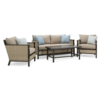 La Z Boy Outdoor Colton 4pc Wicker Outdoor Seating Set With Sunbrella Cast  Shale Cushion : Target