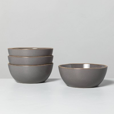 4pk Stoneware Exposed Rim Cereal Bowl Set Gray - Hearth & Hand™ with Magnolia