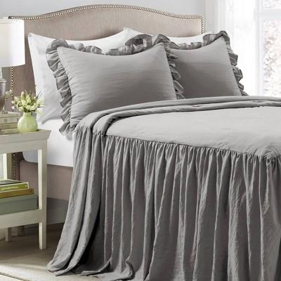 Lush Décor King 3pc Ruffle Bedspread Set Dark Gray
