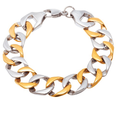 "Two-Tone Stainless Steel Men's 8"" Curb Chain Bracelet - image 1 of 1"