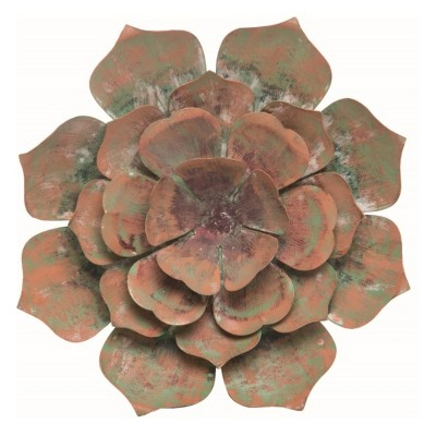 Transpac Metal 9 in. Green Spring Cactus Flower Wall Decor