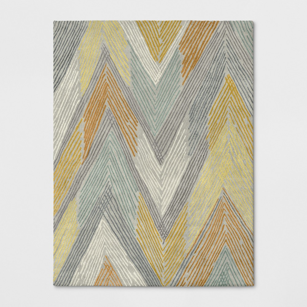 9'X12' Chevron Tufted Wool Abstract Area Rug Gray/Yellow - Project 62 Product Image