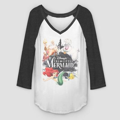 Women's 3/4 Sleeve Watercooler Mermaid Raglan T Shirt   White/Black by Shirt