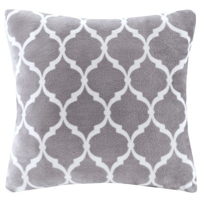 Gray Ogee Printed Microlight Throw Pillow (20 x20 )
