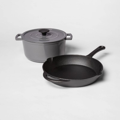 Pre-Seasoned Cast Iron Skillet and Enamel 3qt Dutch Oven Set Gray - Threshold™