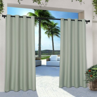 """Set of 2 120""""x54"""" Solid Cabana Grommet Top Light Filtering Curtain Panels Light Green - Exclusive Home"""