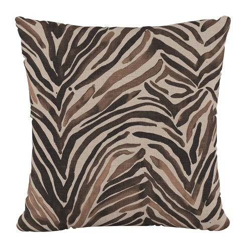 Polyester Washed Pillow Square Zebra Chocolate - Cloth & Company - image 1 of 4