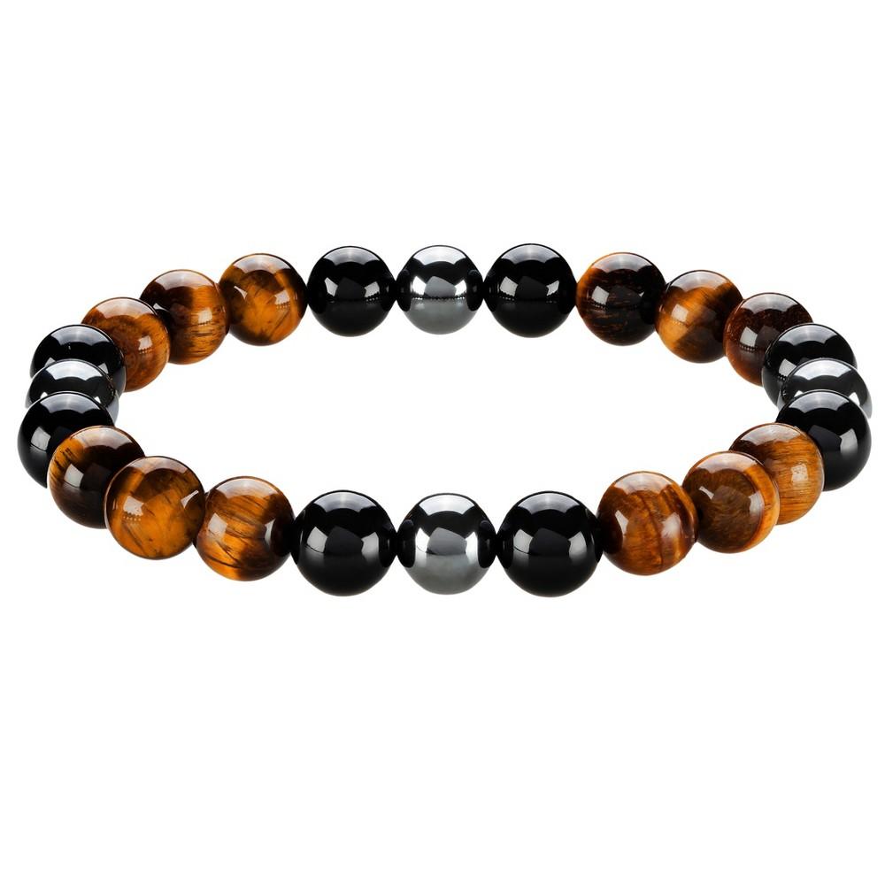Men's Crucible Natural Stone Beaded Bracelet - Tiger Eye/Black Onyx/Hematite, Brown