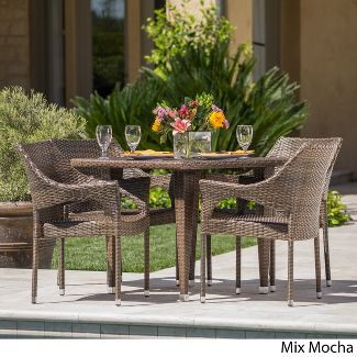 Cliff 5pc Wicker Dining Set - Mixed Mocha - Christopher Knight Home