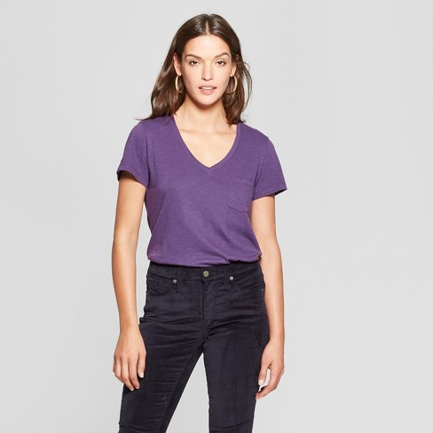 554e89398a Women's Relaxed Fit Monterey Pocket V-Neck Short Sleeve T-Shirt - Universal  Thread™ Purple XS