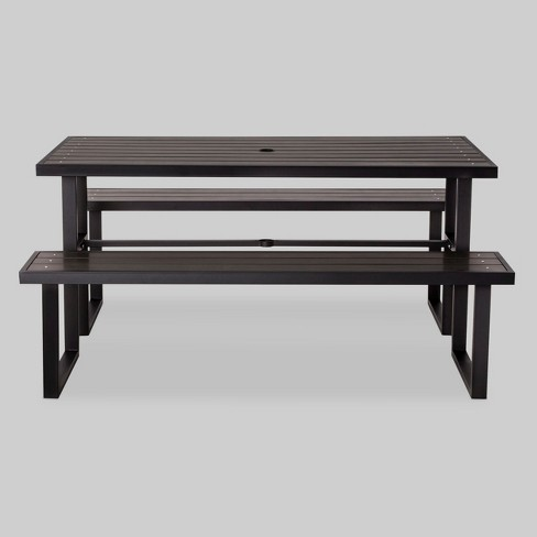 Bryant Faux Wood Rectangle Picnic Table Black - Project 62™ - image 1 of 2