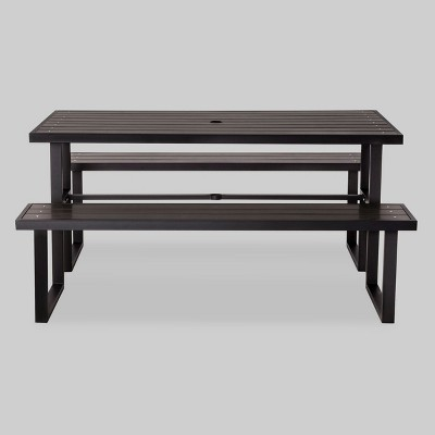 Bryant Faux Wood Rectangle Picnic Table Black   Project 62™