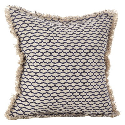Navy Blue Canberra Fringed Moroccan Throw Pillow (20 )- Saro Lifestyle®