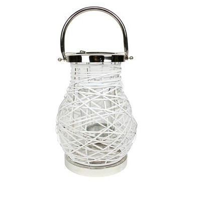 "Northlight 13.5"" Modern White Decorative Woven Iron Pillar Candle Lantern with Glass Hurricane"
