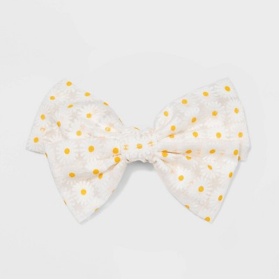 Bow Top with Daisy Patterned Mesh Covered Barrette - Wild Fable™ White