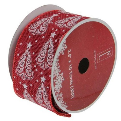 "Northlight Swirls of Red Christmas Wired Craft Ribbon 2.5"" x 10 Yards"