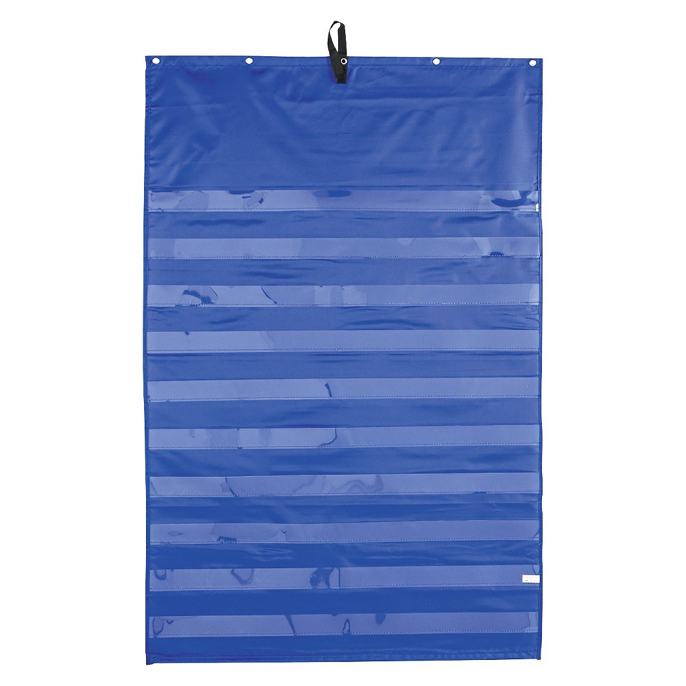 Image of Carson-Dellosa Publishing Essential Pocket Chart, 10 Clear & 1 Storage Pocket, Grommets, Blue, 31 x 42