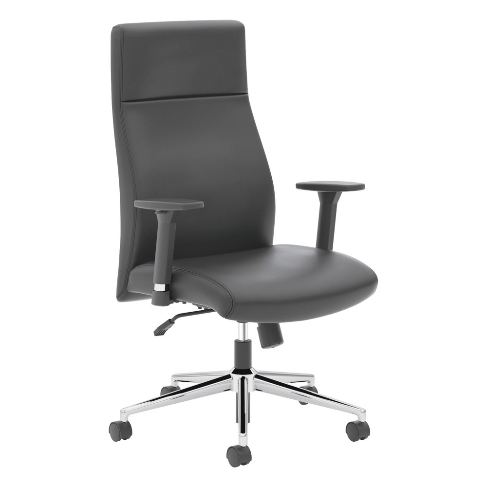 Image of basyx VL108 Executive High-Back Chair, Black Leather