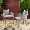 Pebble Set of 2 Wicker Boho Club Chairs - Gray - Christopher Knight Home - image 2 of 4