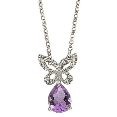 Diamond and Amethyst Accent Butterfly Necklace in Sterling Silver (IJ-I2-I3)