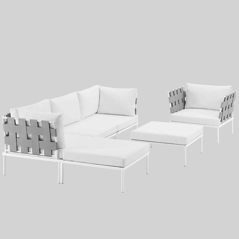 Harmony 6pc Aluminum Outdoor Patio Sectional Sofa Set - White - Modway