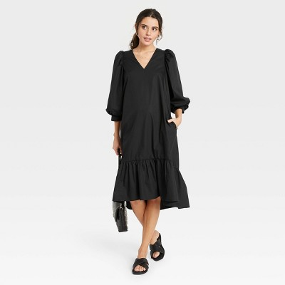Women's Long Sleeve Ruffle Hem Dress - A New Day™