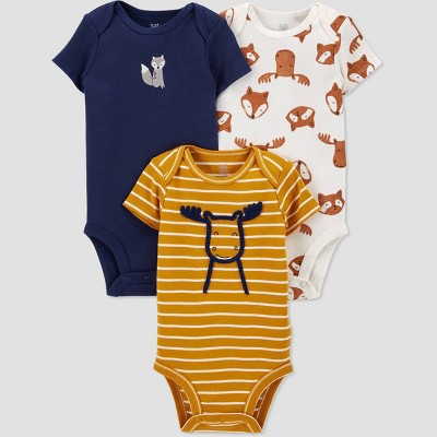 Baby Boys' 3pk Woodland Short Sleeve Bodysuit - Just One You® made by carter's Off-White/Gold/Blue 3M