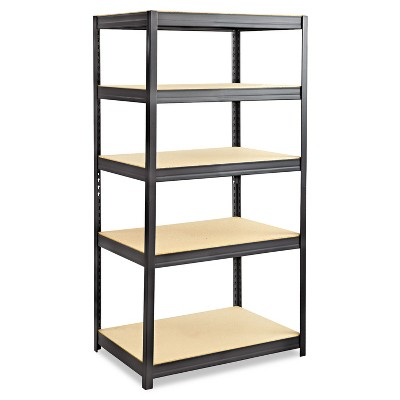 Safco Boltless Steel/Particleboard Shelving Five-Shelf 36w x 24d x 72h Black 6247BL