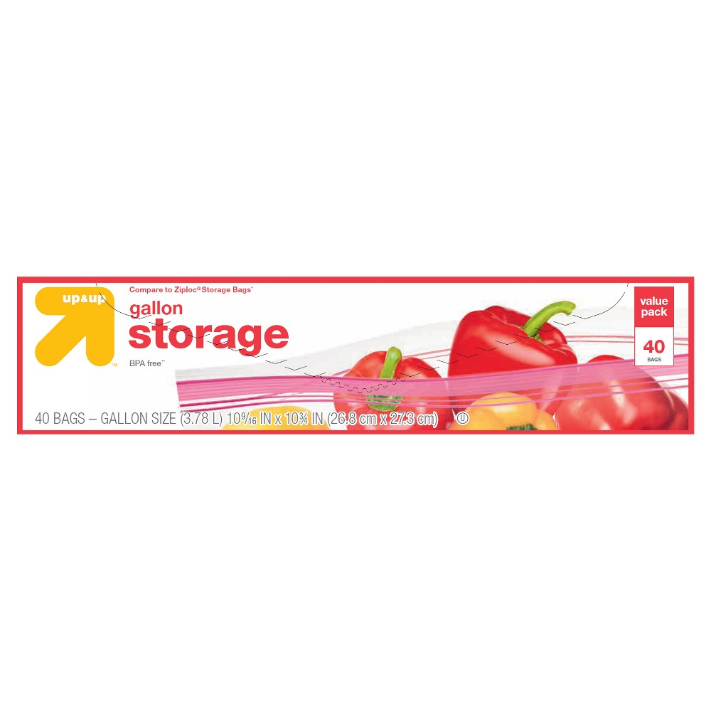 Gallon Storage Bags - 40ct - Up&Up (Compare to Ziploc Storage Bags), Clear