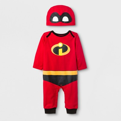 Baby Boys' Disney The Incredibles Long Sleeve Romper with Hat - Red 0-3M