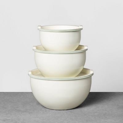 3pk Enamel Serve Bowl Sour Cream with Silver Green Rim - Hearth & Hand™ with Magnolia